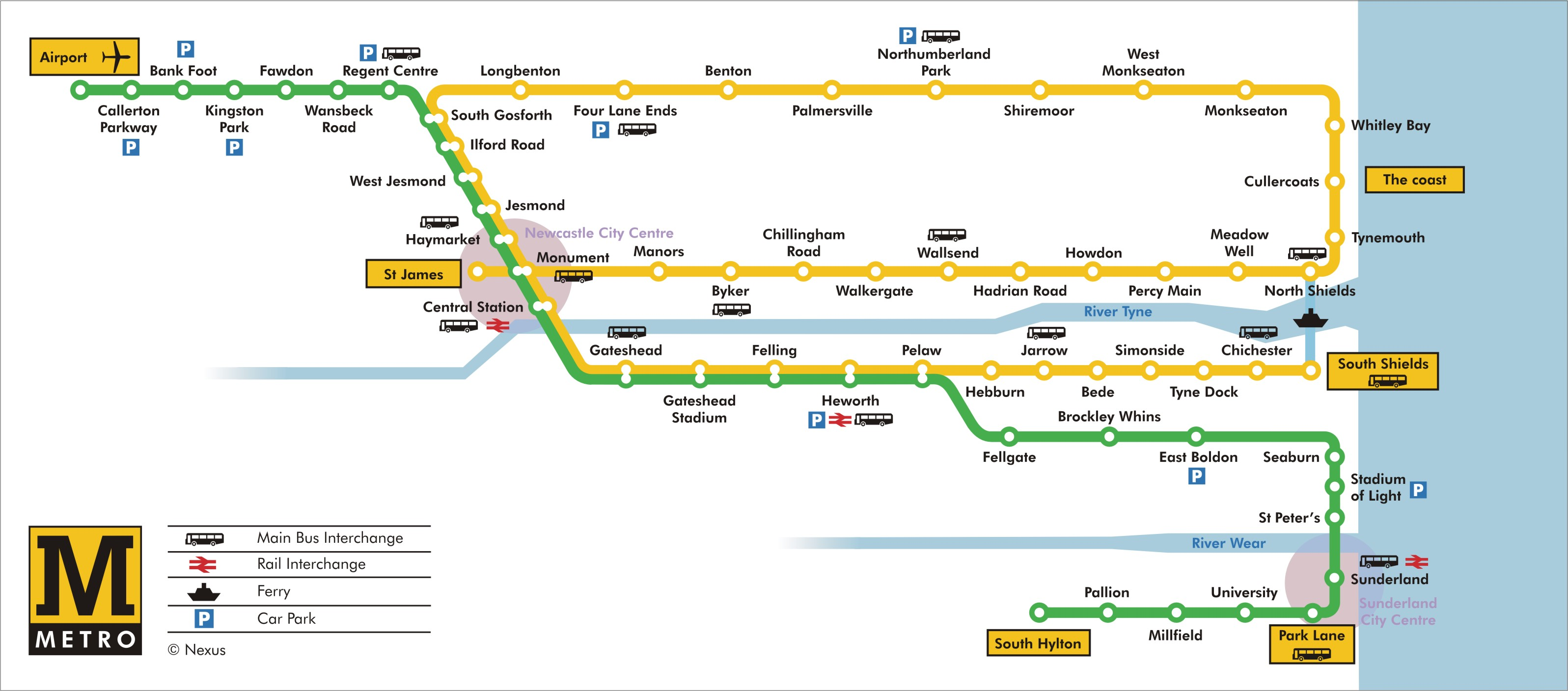 Tyne and Wear Metro Route Map Tyne and Wear England mappery