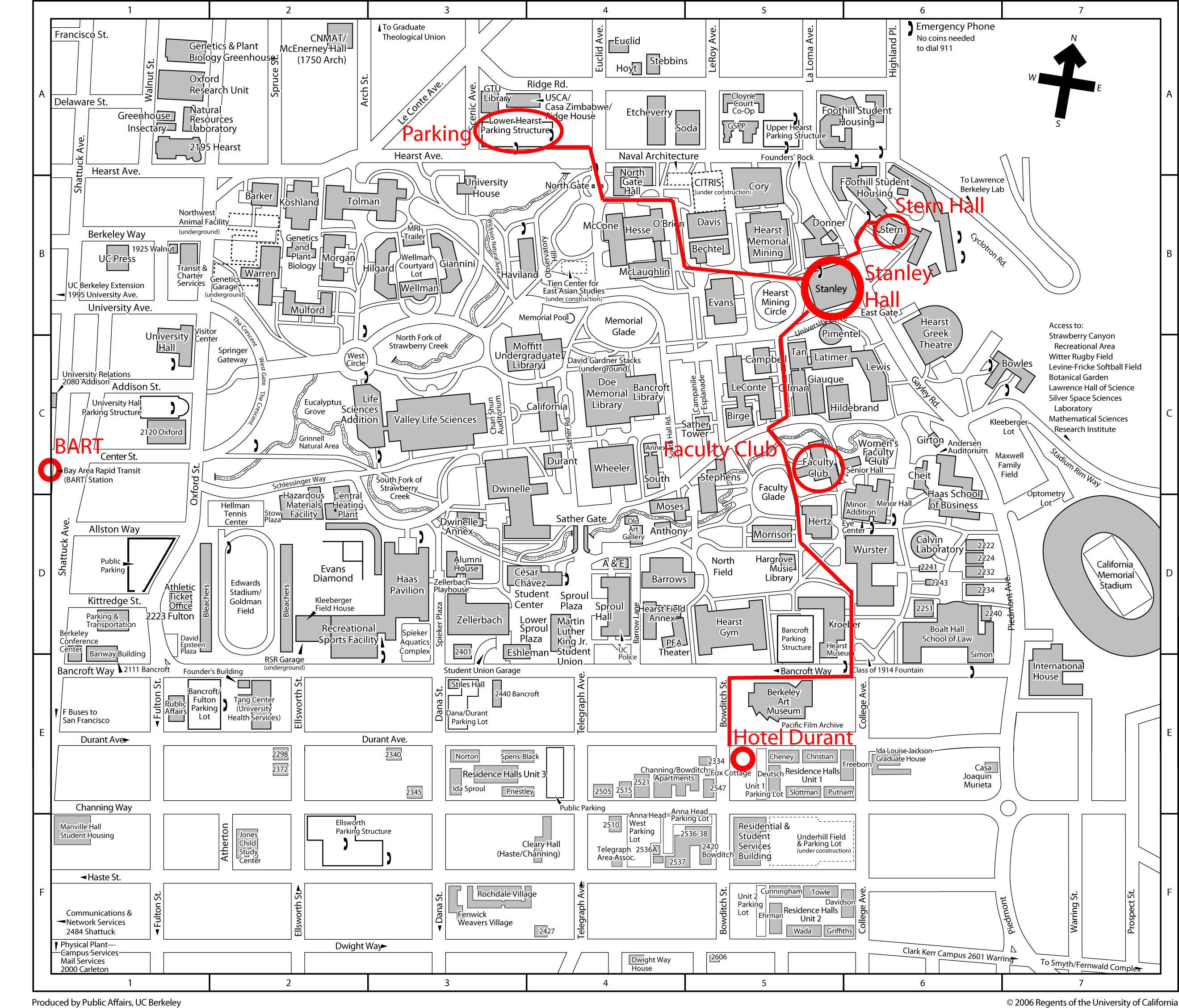 UC Berkely Campus Map University of California Berkeley California