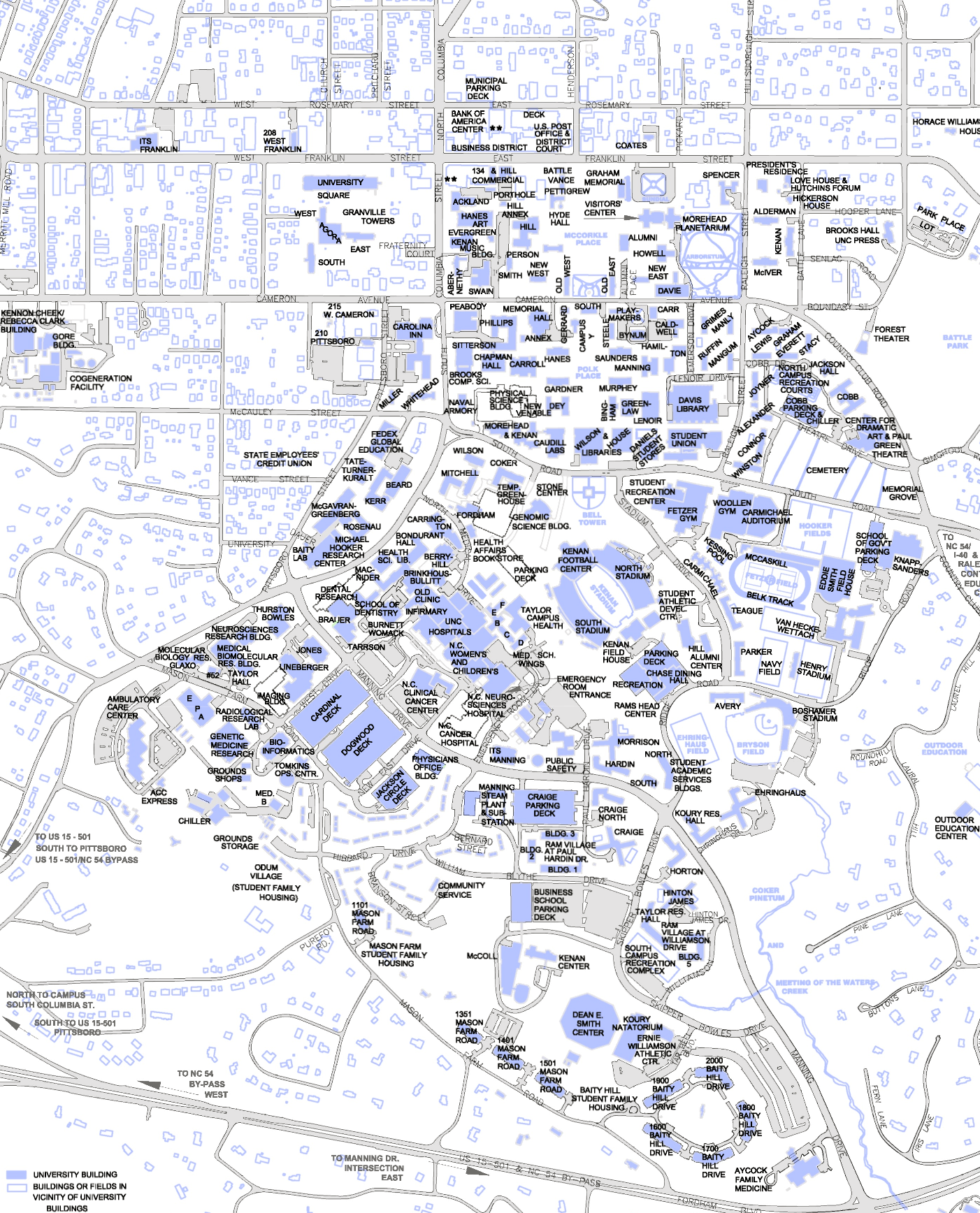 UNC CH Campus Map   chapel hill nc • mappery