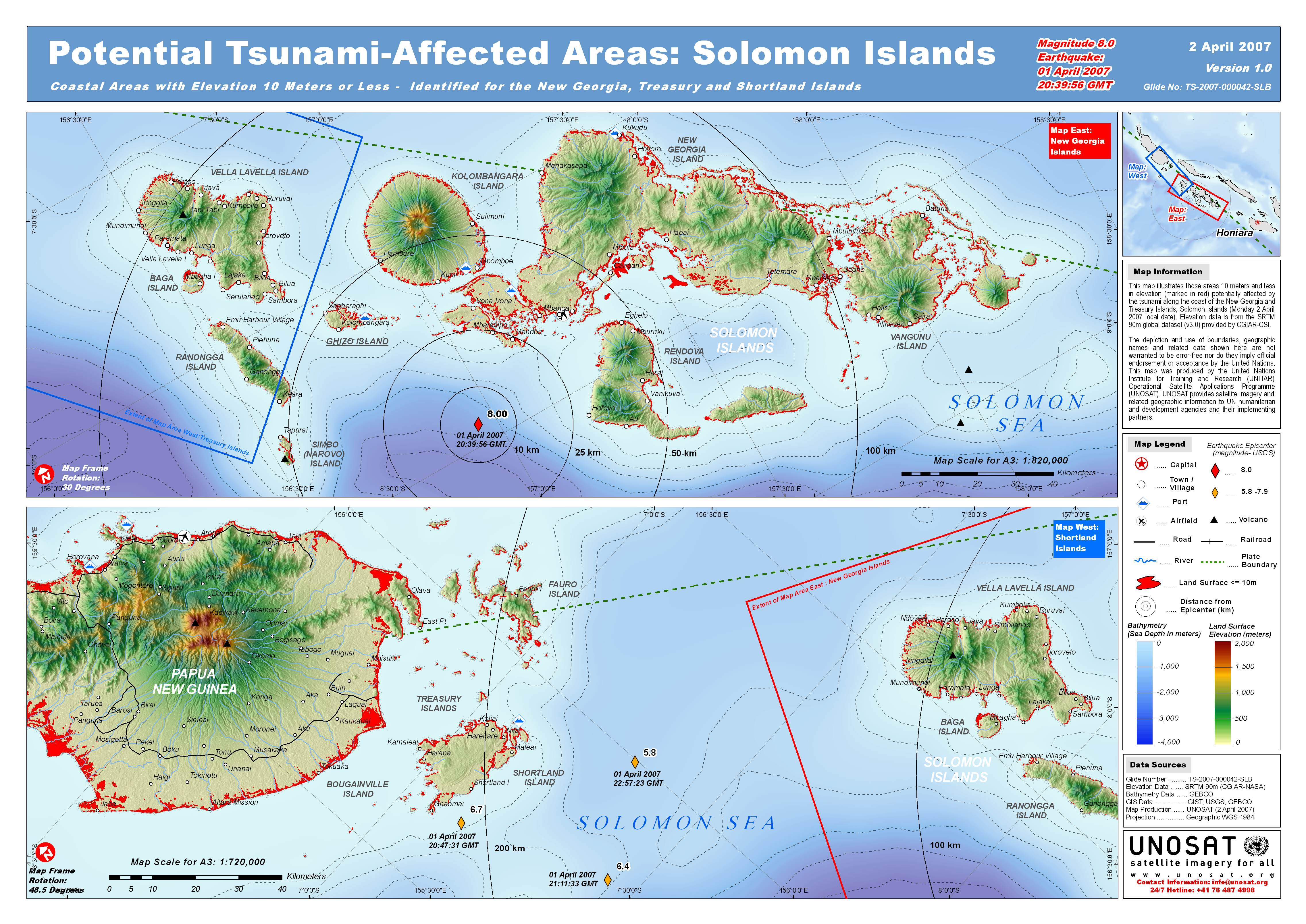 UNOSAT Solomon Islands Elevation Map - solomon islands • mappery