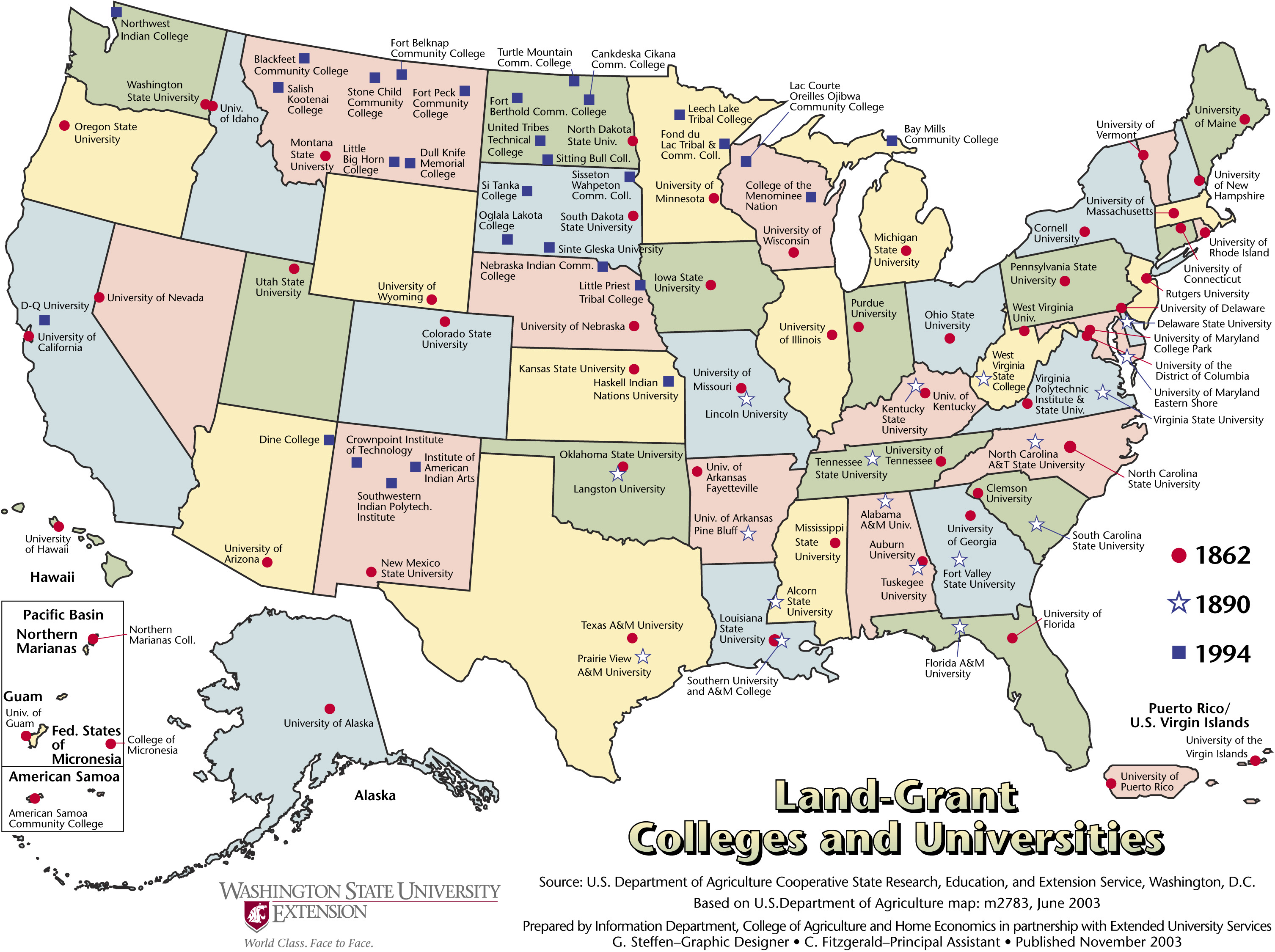 US College And University Land Grant Map USA Mappery - Us map of colleges and universities