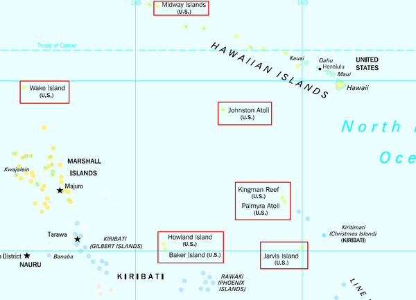 US Minor Outlying Islands Map • mappery