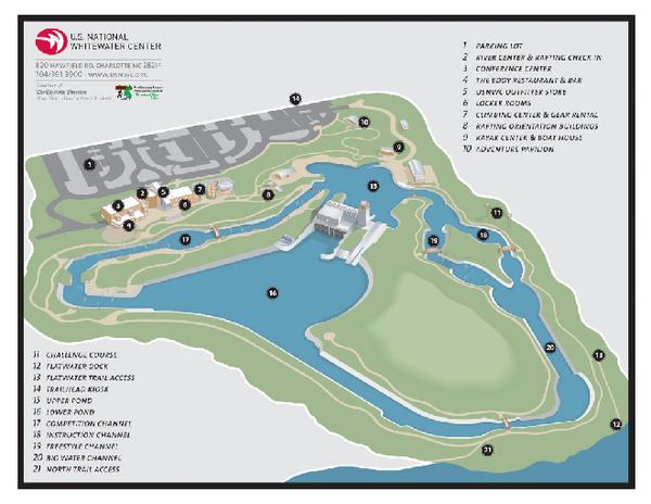 US National Whitewater Center Map Hawfield Road Charlotte NC - Us map charlotte nc
