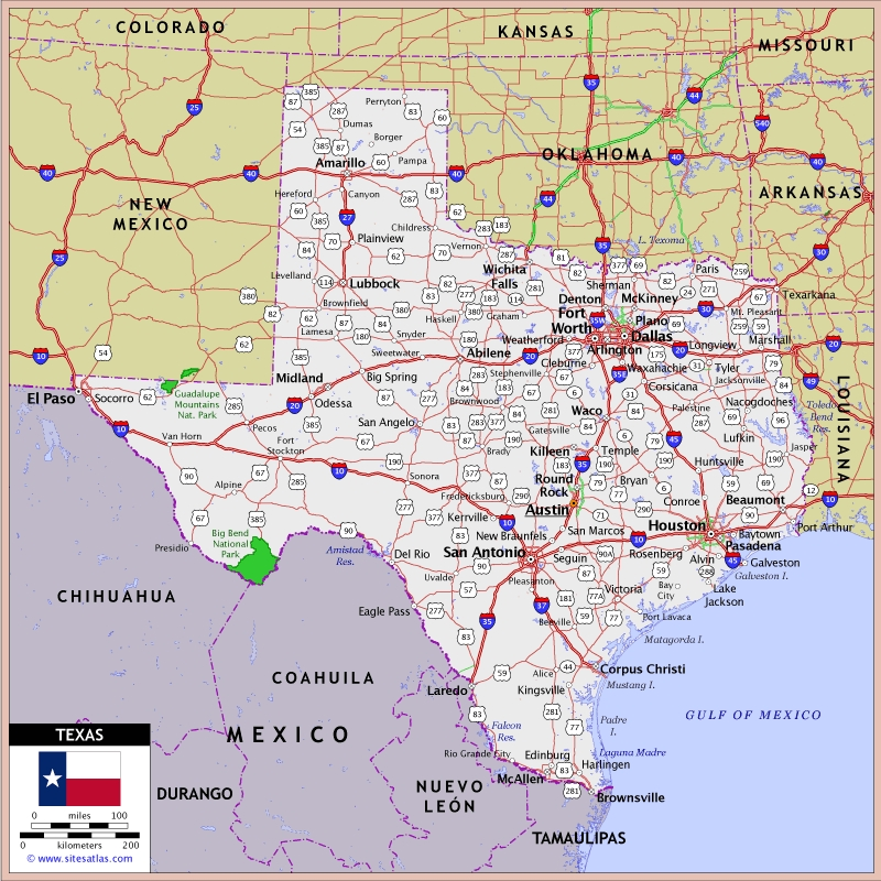 US Texas Roads Map Texas Mappery - Us Map Texas