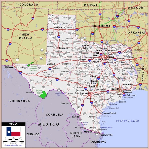 US Texas Roads Map  Texas  Mappery