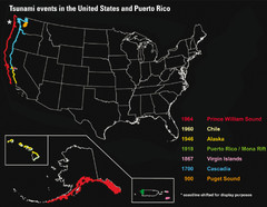 US Tsunami Events Map