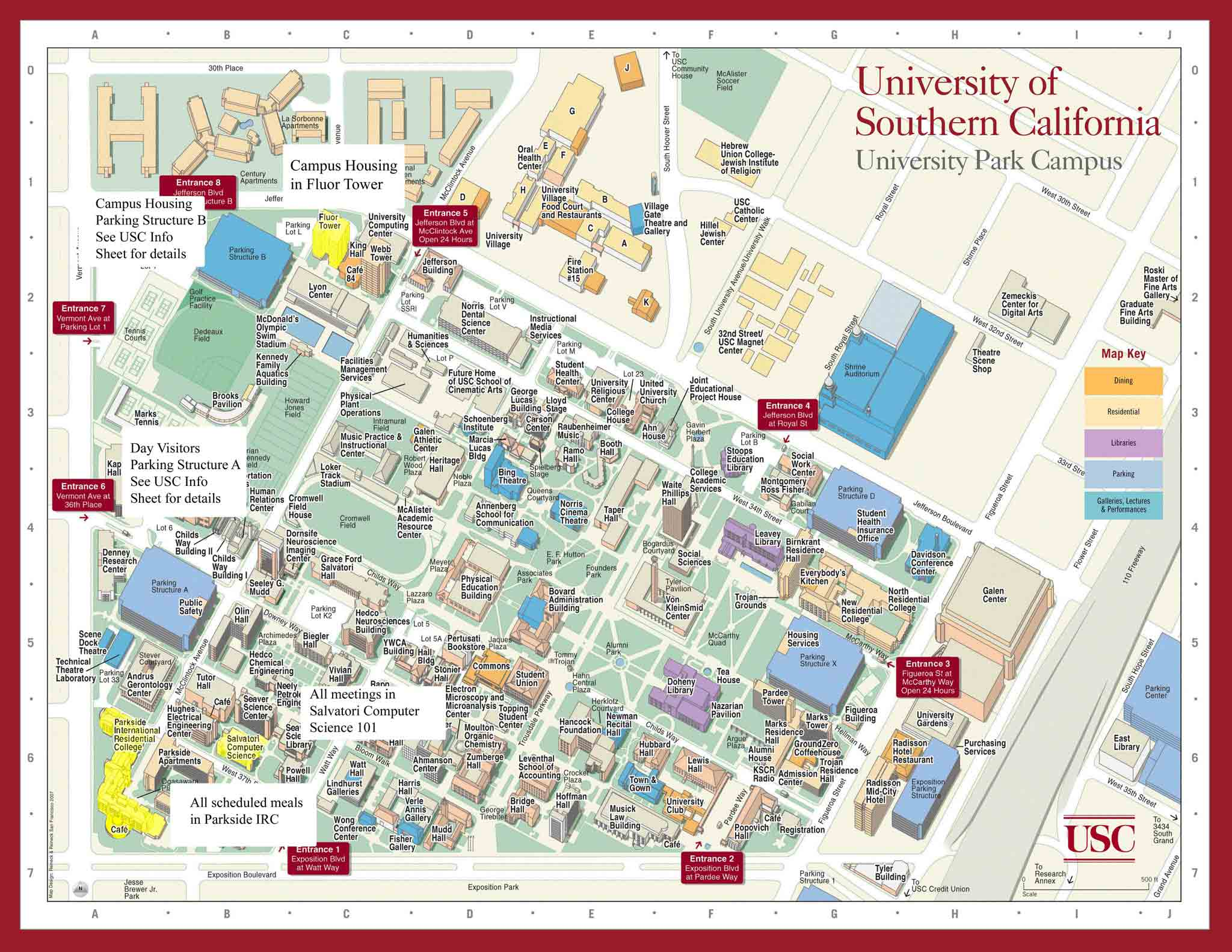 usc campus map  university of southern california • mappery -