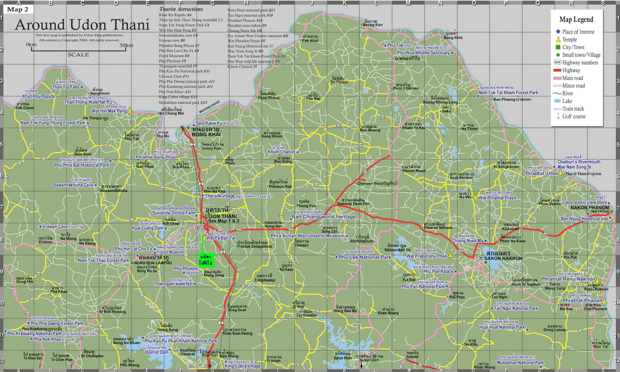 Udon Thani Tourist Map Udon Thani mappery