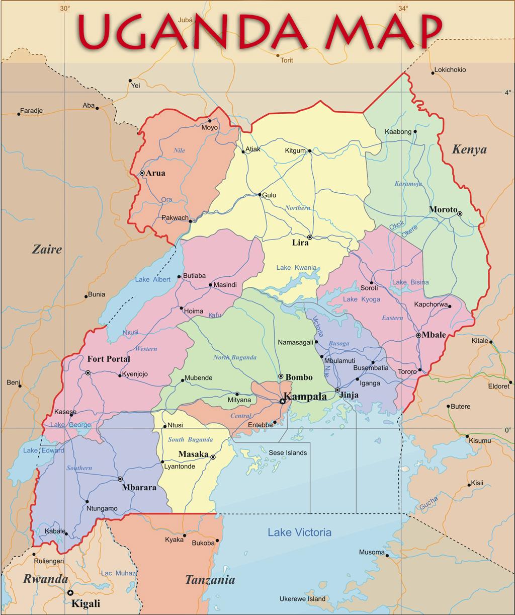 Uganda Political Map Uganda mappery