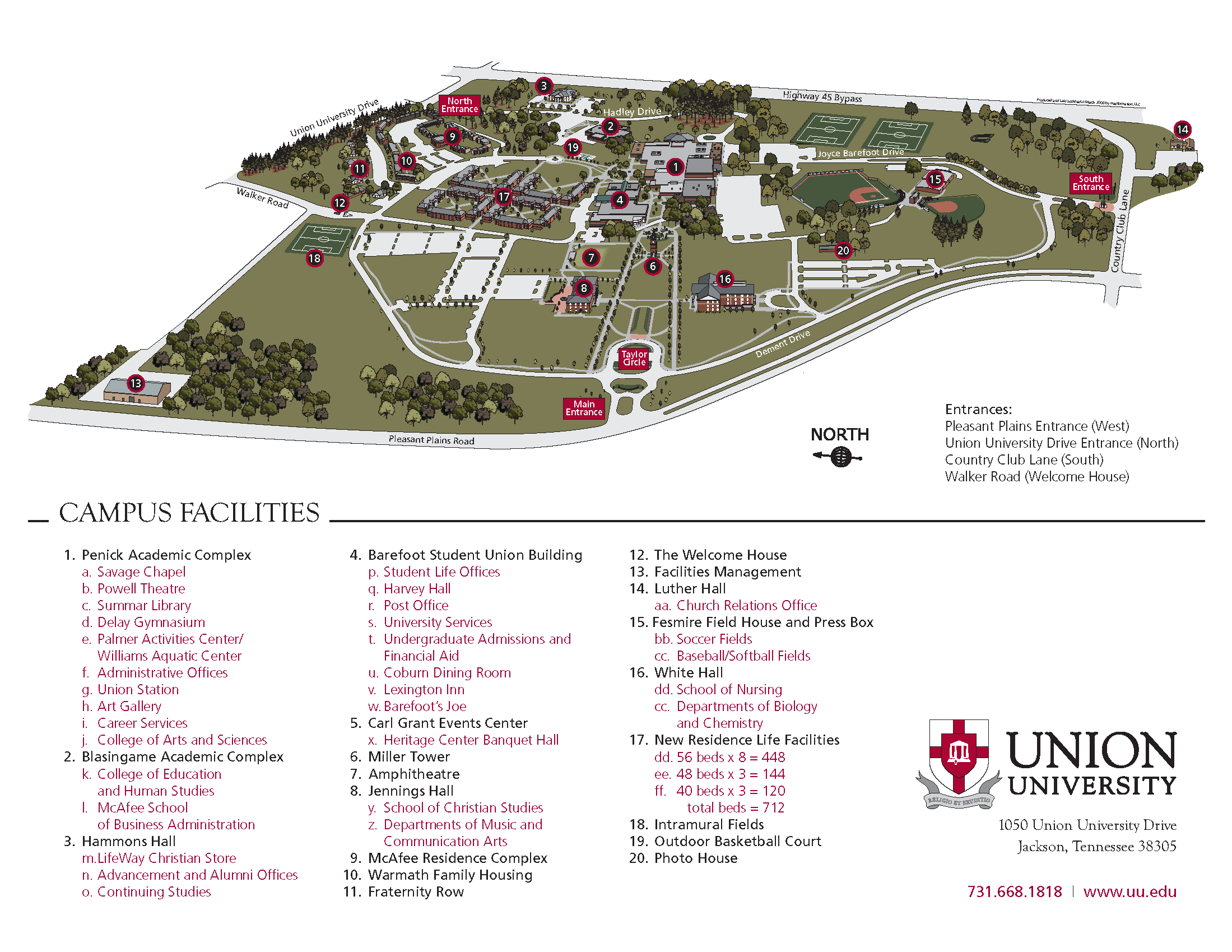 Jackson College Campus Map.Union University Jackson Campus Map 1050 Union University Drive