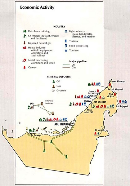United Arab Emirates Economic Activity Map United Arab Emirates