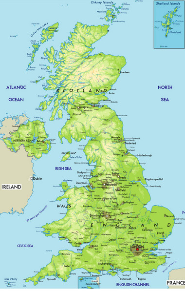 Fullsize United Kingdom Physical Map