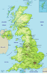 United Kingdom Physical Map