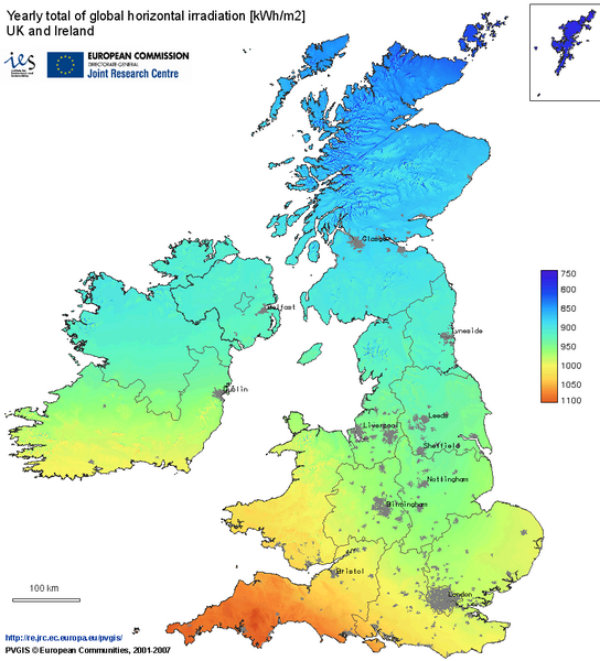 United Kingdom Solar Radiation Map