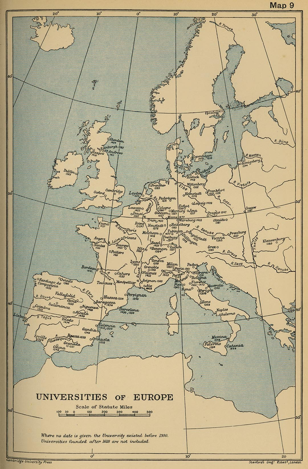 Universities of Europe Historical Map Europe mappery