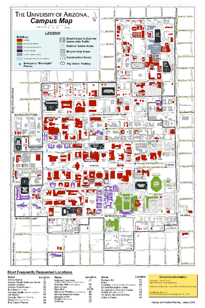 u of az campus map University Of Arizona Campus Map Tucson Arizona Mappery