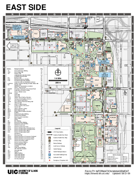 university of illinois chicago campus map University Of Illinois At Chicago East Map University Of