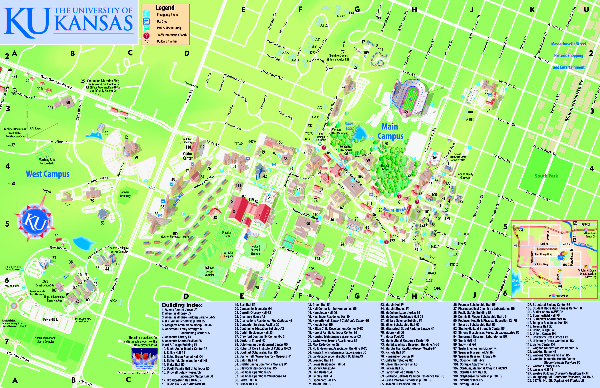 University Of Kansas Main Campus Map Lawrence Ks Mappery