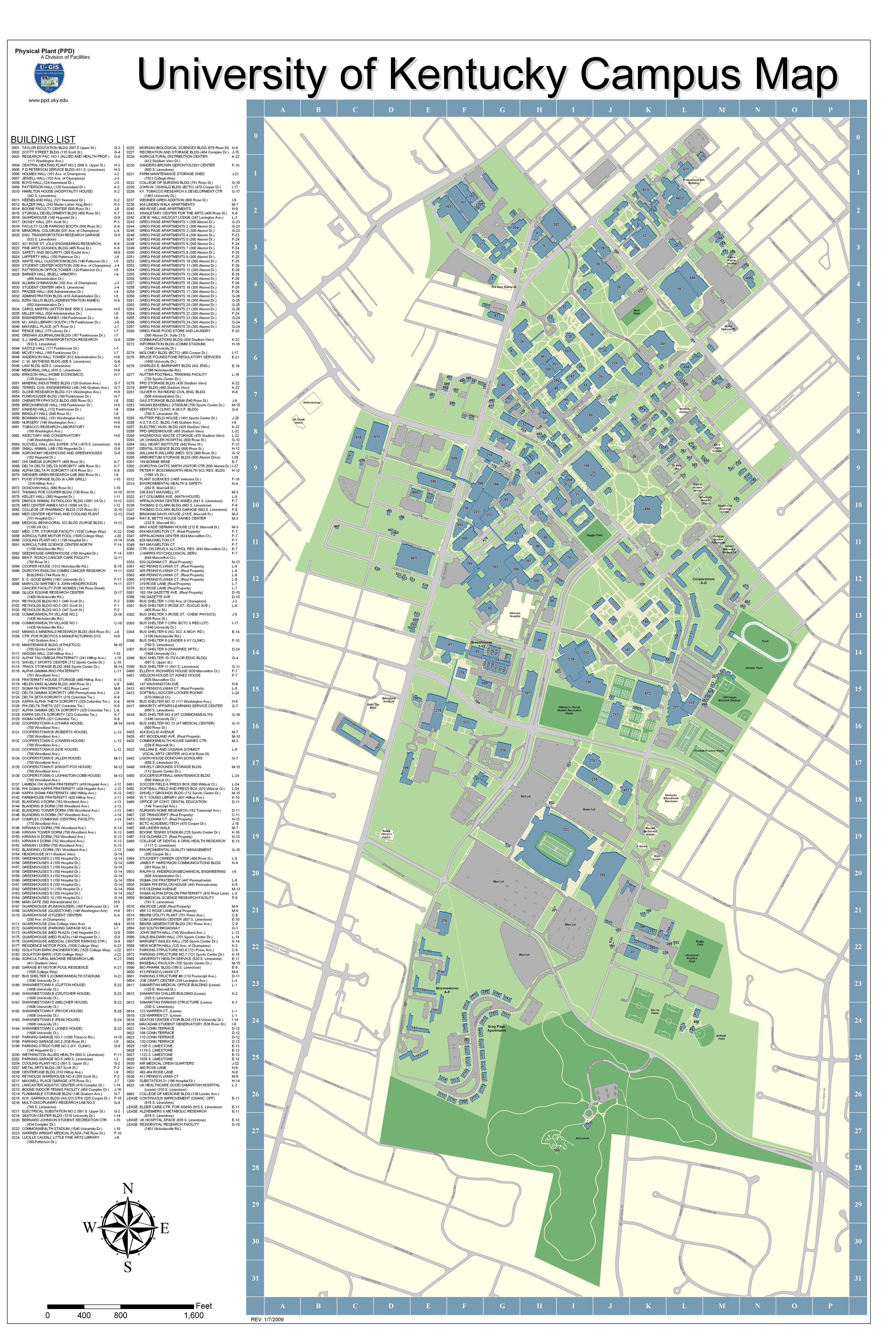 University of Kentucky Campus Map - Lexington Kentucky USA • mappery