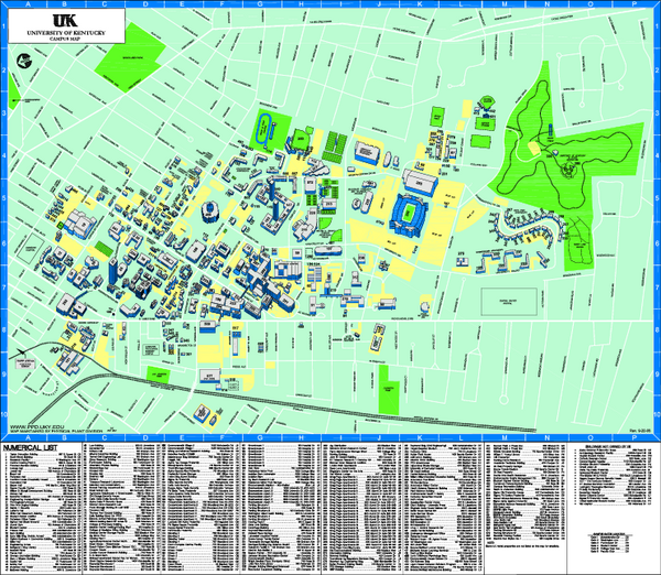 Kentucky Campus Map.University Of Kentucky Map Lexington Kentucky Mappery