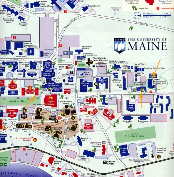 University Of Maine Map The University Of Maine Orono Maine Mappery