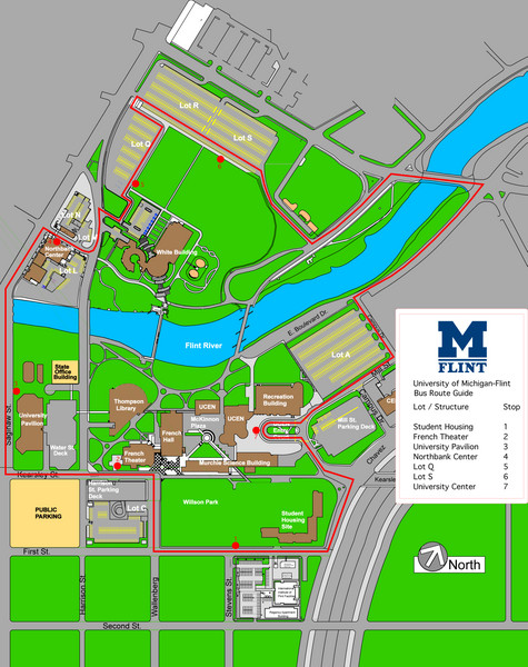 University of Michigal-Flint Bus Route Map - 303 E Kearsley ... on alma college michigan campus map, university of michigan map, oakland university campus map, davenport campus map, grcc campus map, madonna university campus map, a&m college station campus map, fort lewis college campus map, lewis university campus map, u of mn medical center map, ford dearborn campus map, st paul 3m campus map, eastern michigan campus map, flc campus map, oakland community college campus map, michigan technological university campus map,