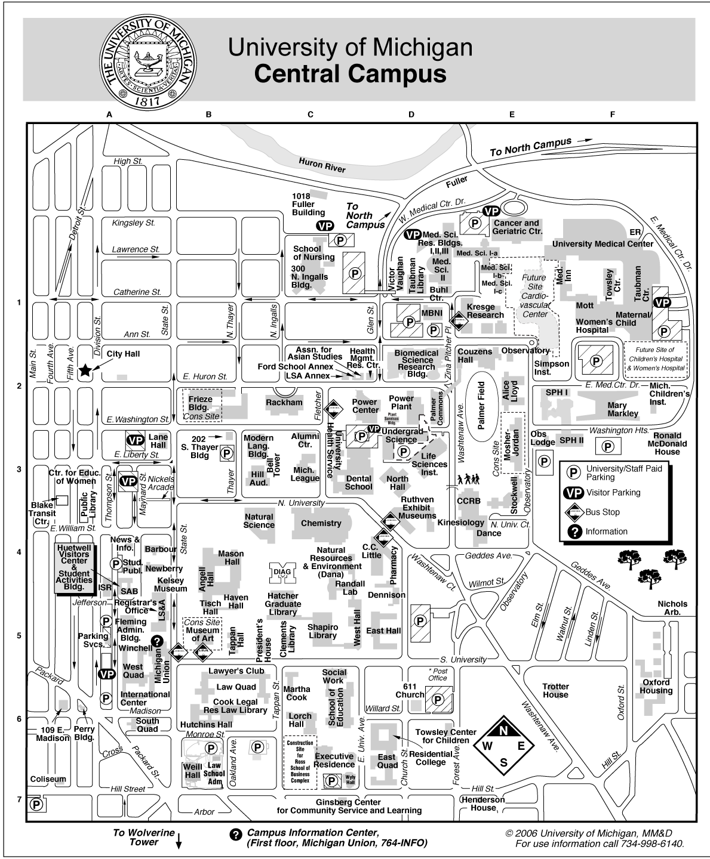 University Of Michigan  Ann Arbor Map  Ann Arbor MI