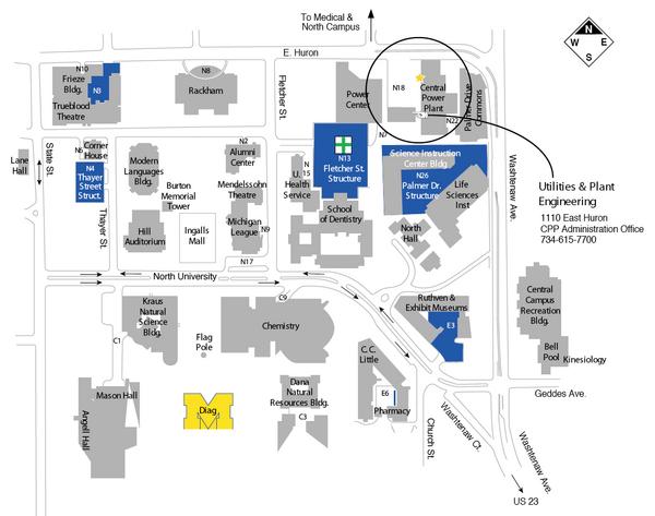 University Of Michigan Map University Of Michigan 500 S State Ann