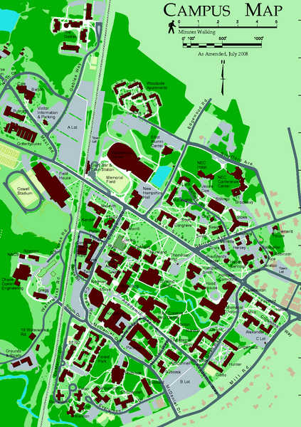Phillips Exeter Academy Campus Map.University Of New Hampshire Campus Map Durham Nh 03824 Mappery