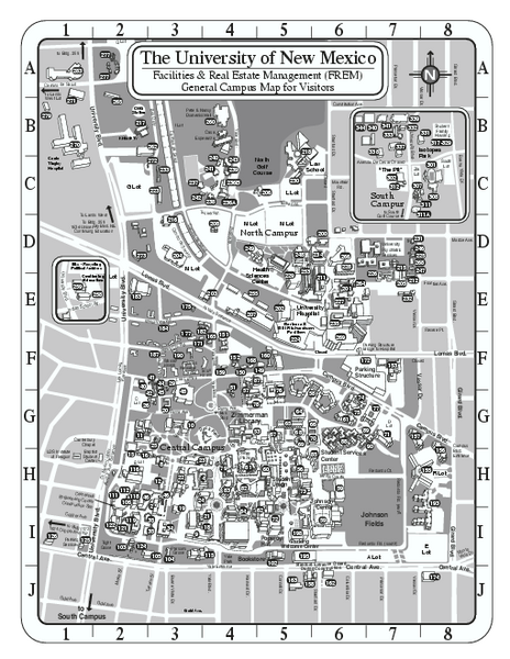 University Of New Mexico Main Campus Map Albuquerque Nm Mappery