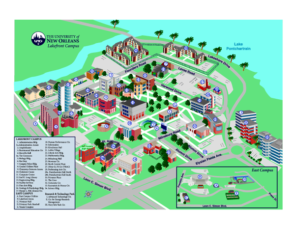 University of New Orleans Lakefront Campus Map university of new