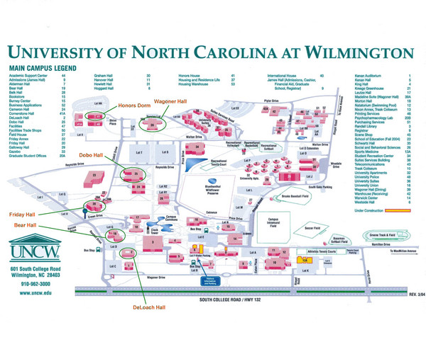 University of North Carolina at Wilmington Map  University of