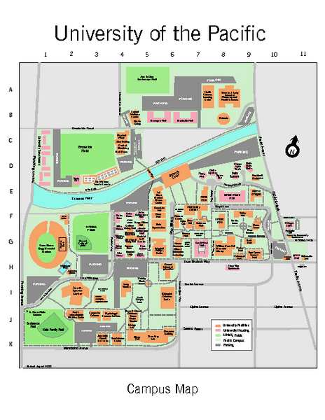 Campus map of University of the Pacific, Stockton, California campus