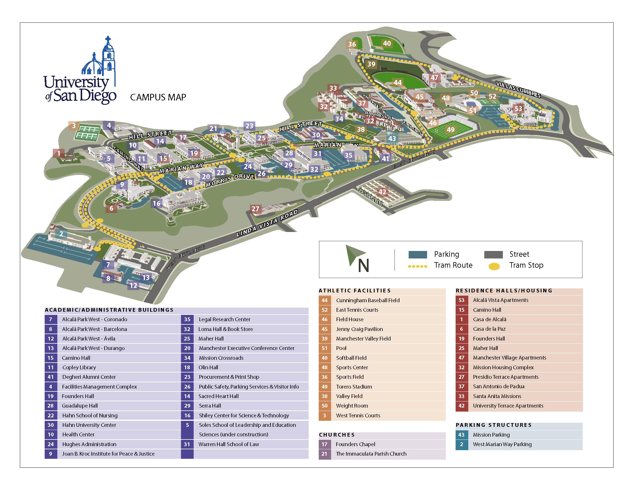 University Of San Diego Campus Map University Of San Diego San Diego Ca Usa Mappery