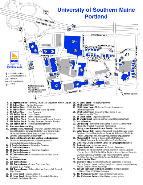 University Of Southern Maine Portland Map University Of Southern