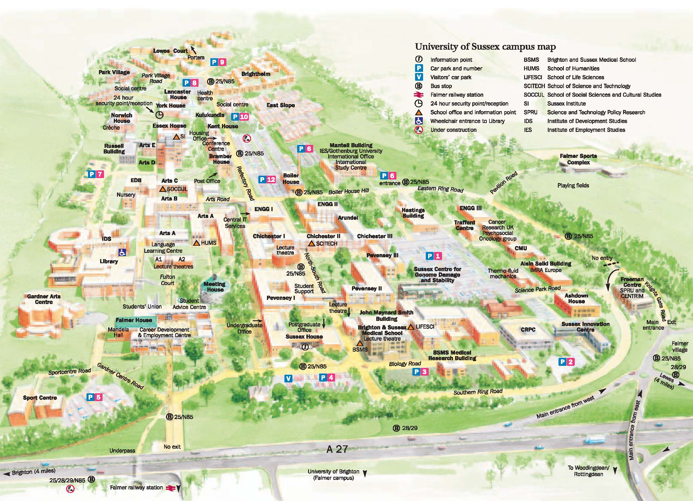 University of Sussex Campus Map Falmer England mappery – Map University