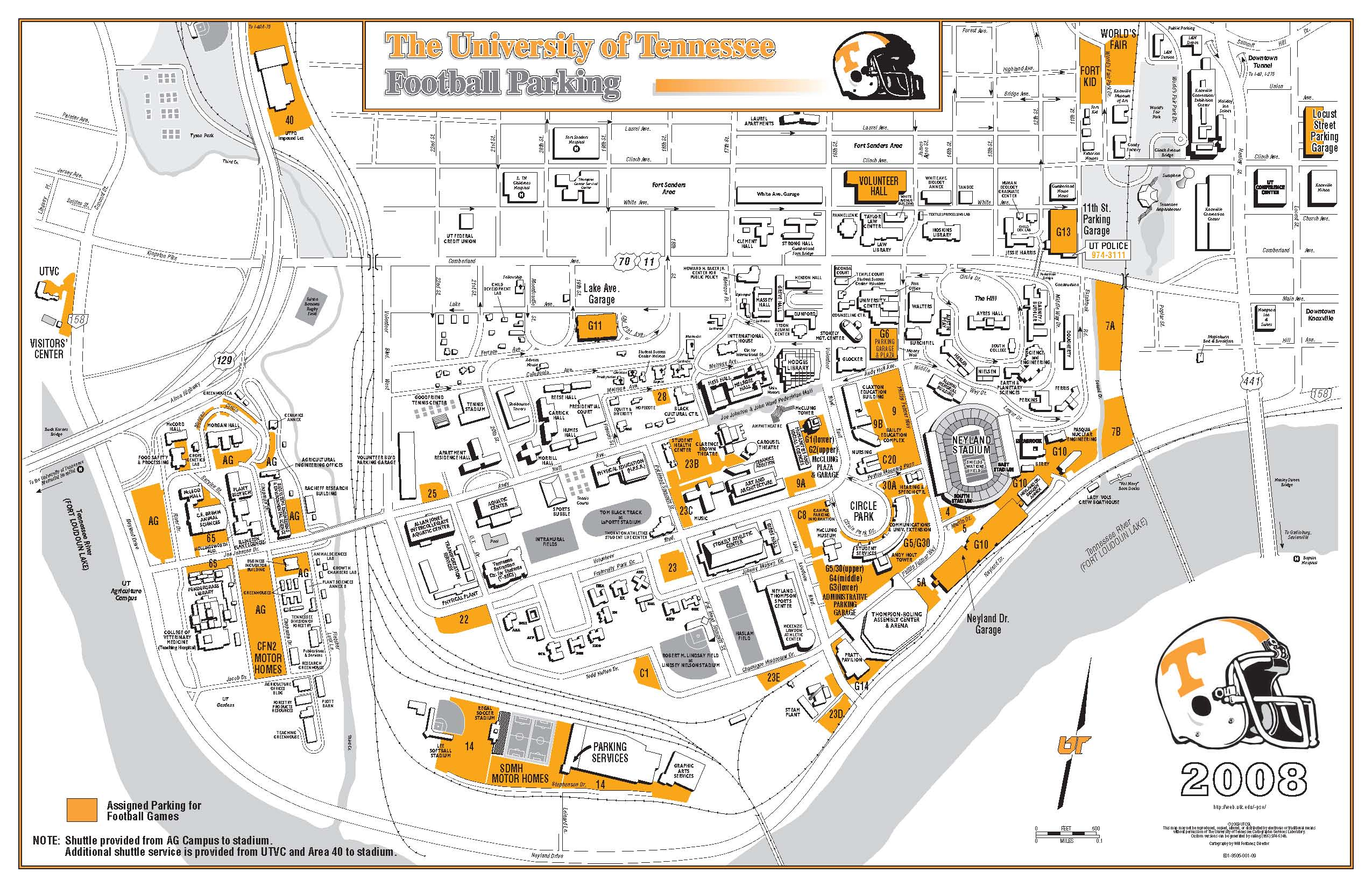 University Of Tennessee Tourist Map Knoxville TN Mappery - Map of tn