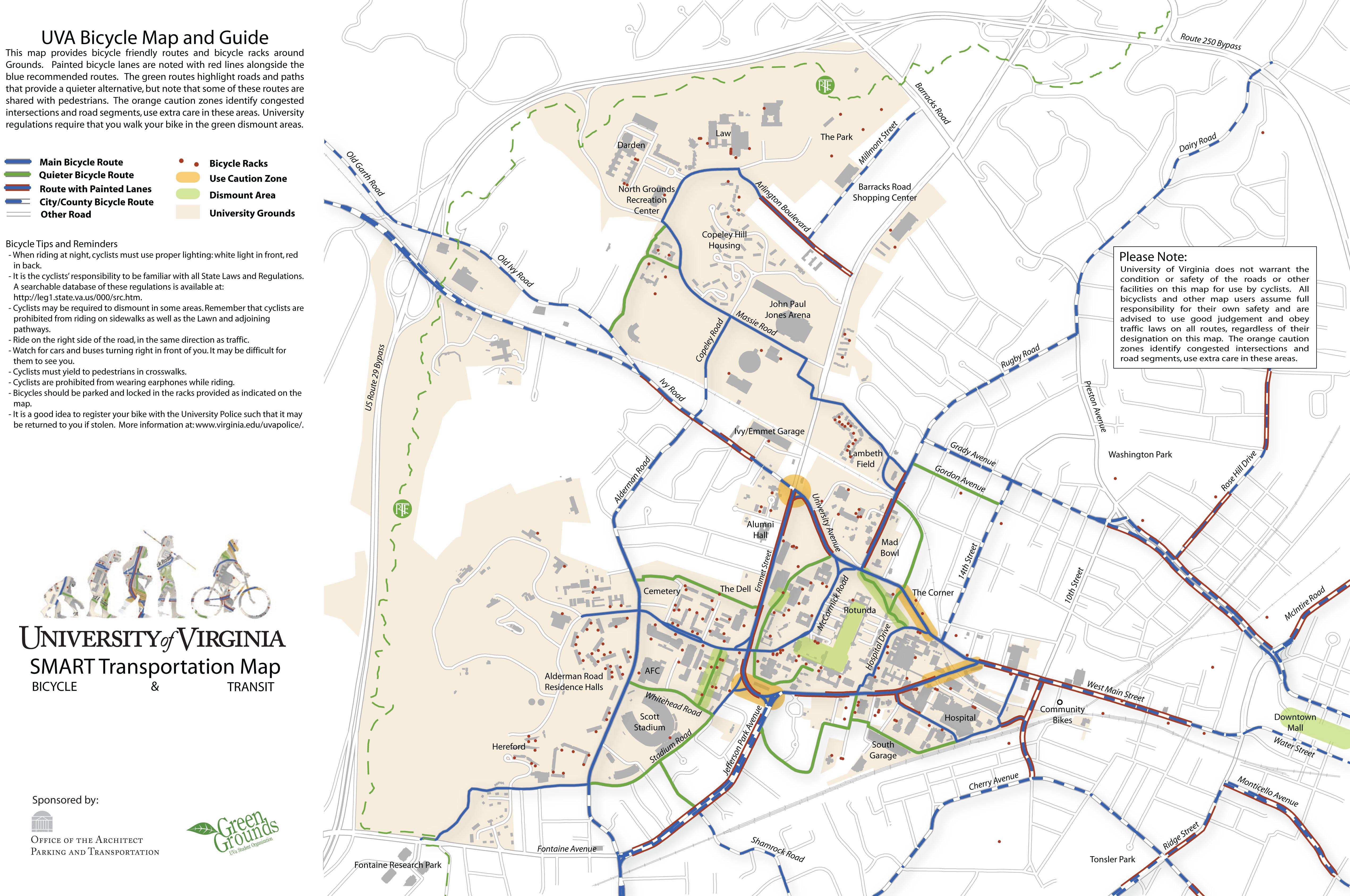 University Of Virginia SMART Transportation Map University Of - Virginia on a us map