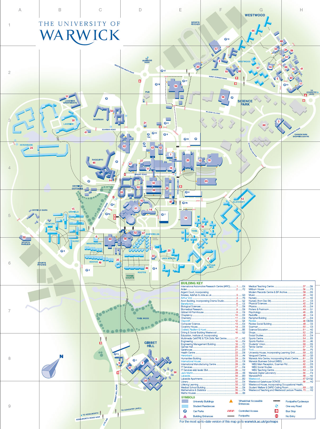University of Warwick Campus Map Coventry mappery