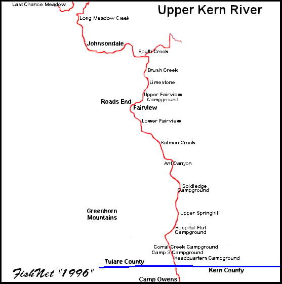 Upper Kern River Area Map   Bakersfield Ca • mappery