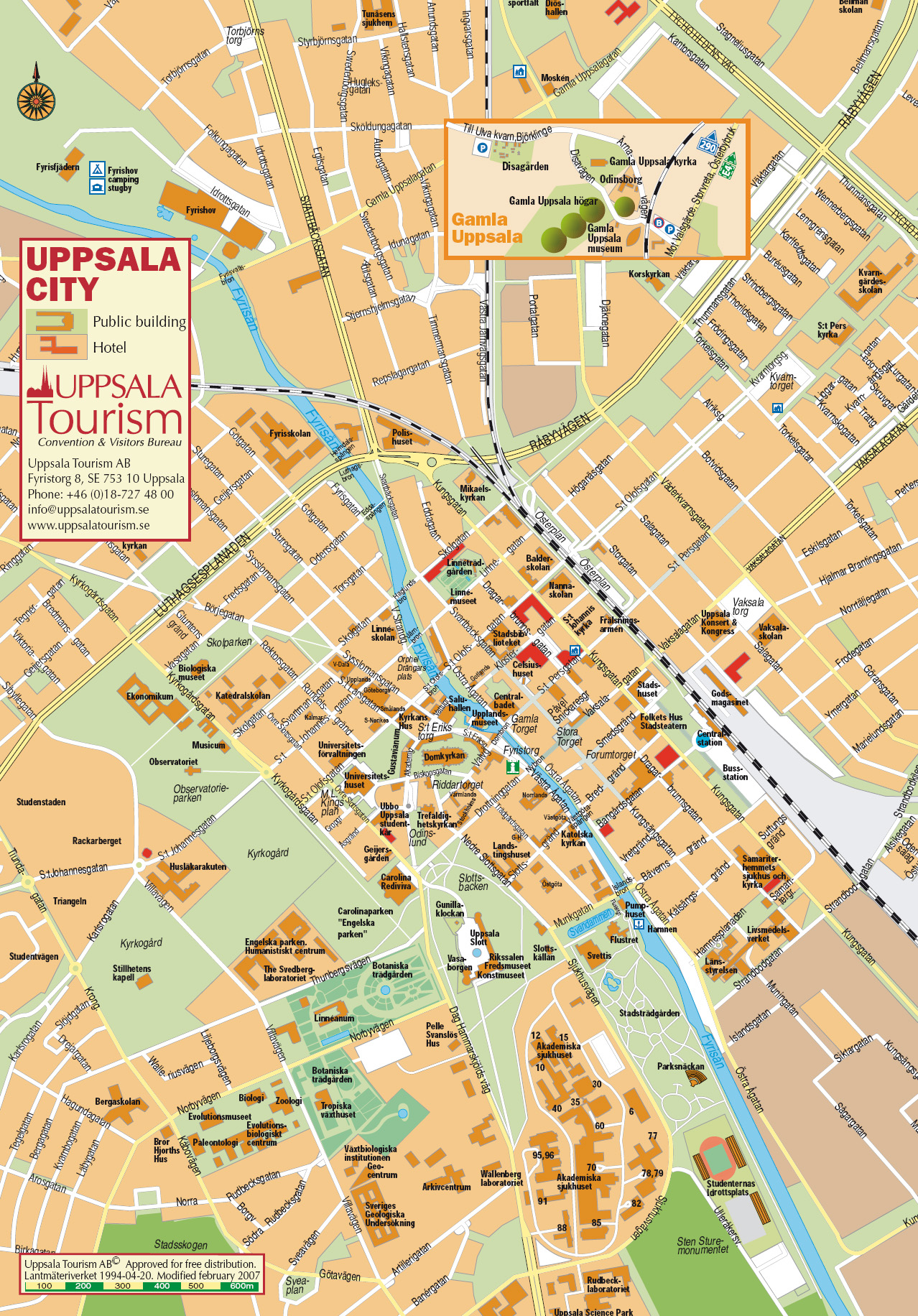Uppsala Tourist Map Uppsala Sweden Mappery