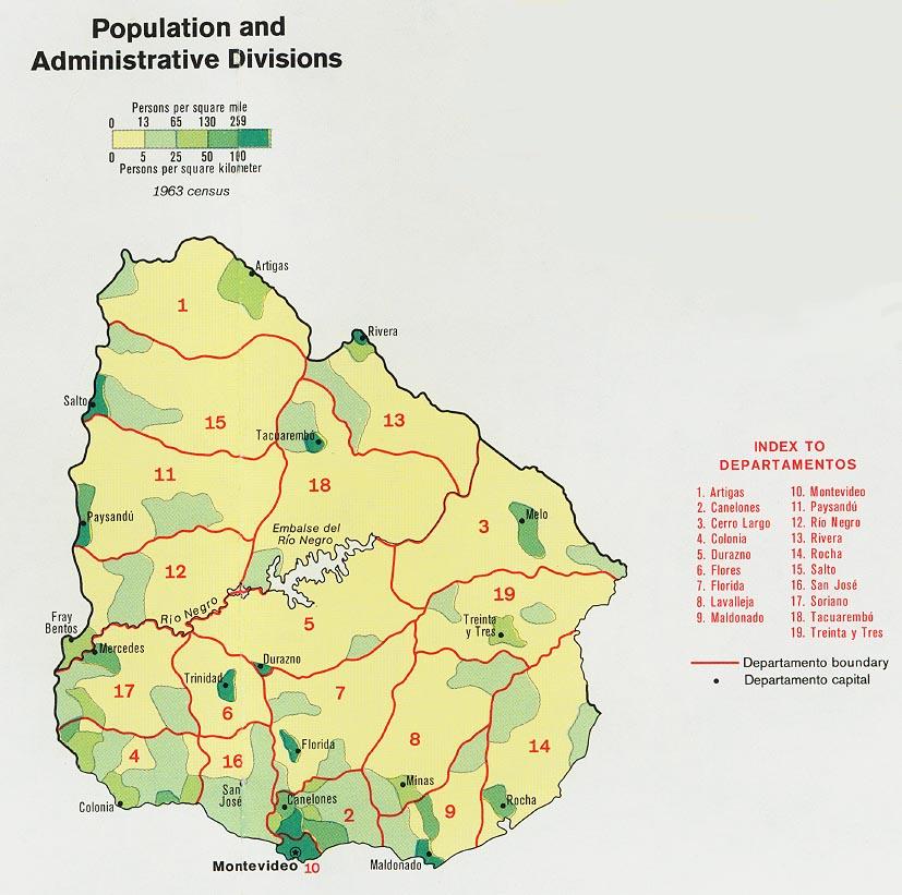 Uruguay Population Map Uruguay Mappery - Map of uruguay
