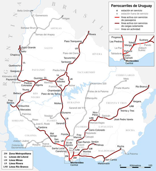 Uruguay Railroad system Map