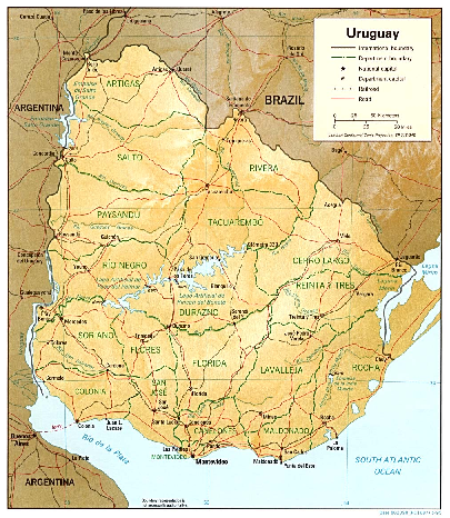 Uruguay (Shaded Relief) 1995 Map