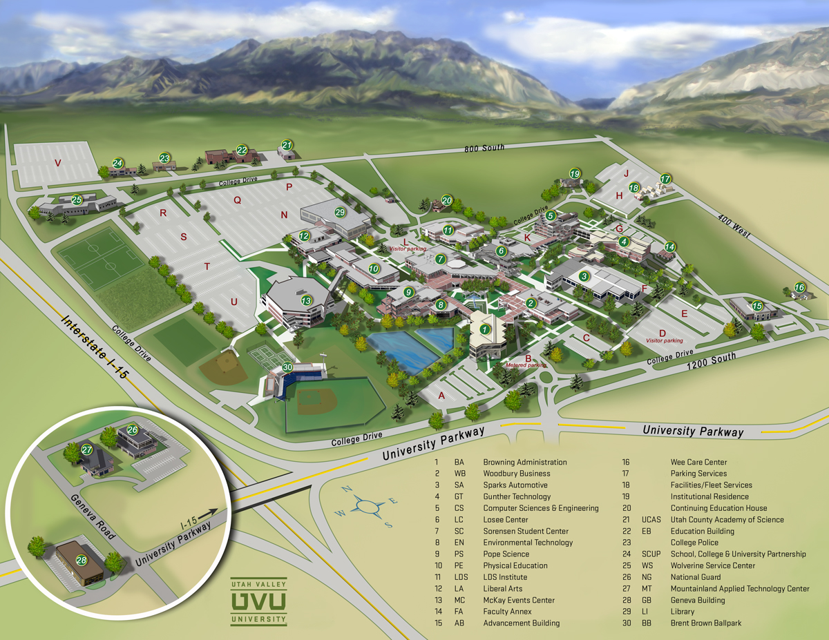utah valley university map  utah valley university  s  - utah valley university map  utah valley university  s university aveprovo utlrm • mappery
