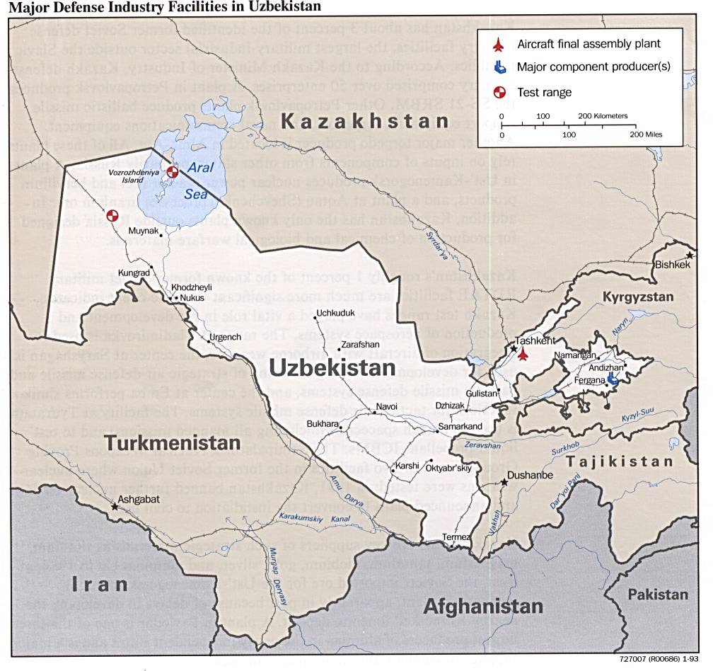 Uzbekistan defense facilities map see map details from www lib utexas