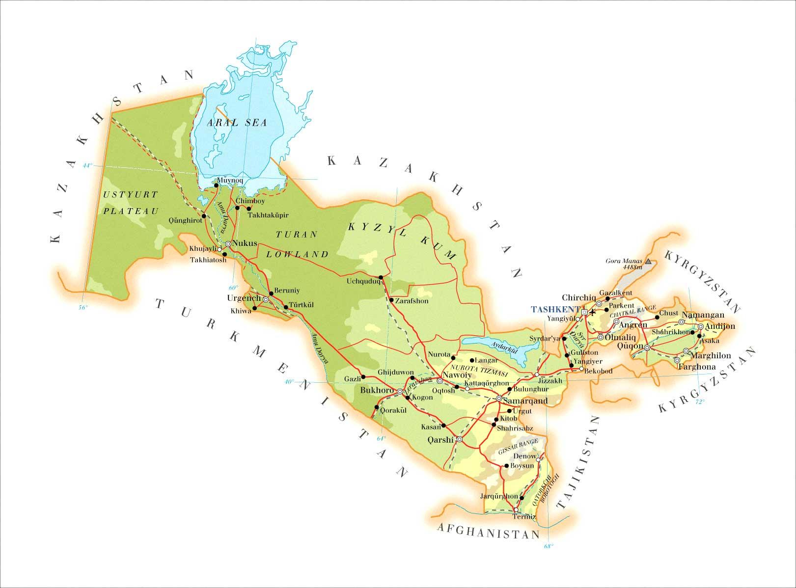 Uzbekistan Map Uzbekistan mappery