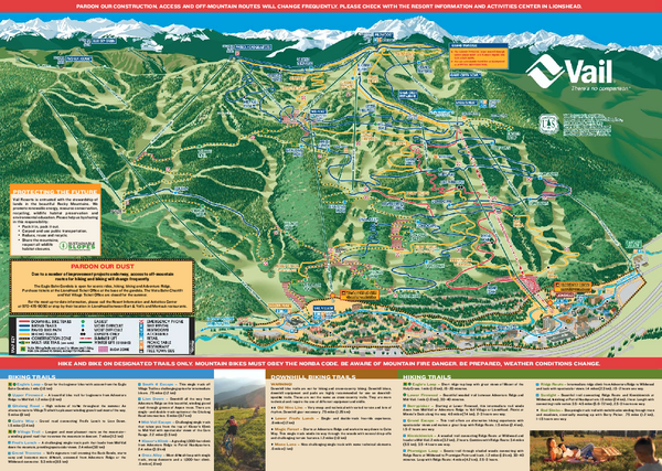 Vail Mountain Resort Summer Adventure Map Vail Co Mappery
