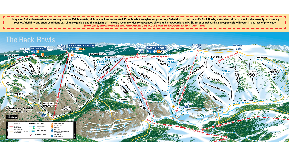 Ski trail map of Vail ski area for the 2006-2007 season.