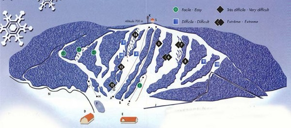 Val D'Irene South Side Ski Trail Map